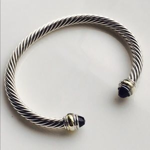 David Yurman 5mm Cable Bracelet Black Onyx Gold
